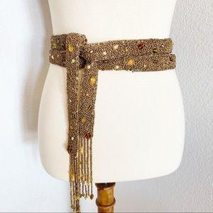 Handmade Gold & Amber Beaded Tassel Belt Boho